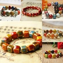 Classic Folk Style  Beaded Bracelet Unisex Strand Colorful Chinese Ceramic Beads Stone Jewelry Gift Bangle