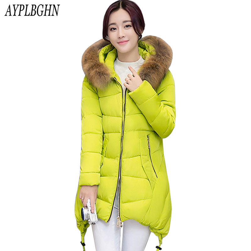 AYPLBGHN Plus size winter jacket new women long coat parkas thickening female large fur collar warm clothes pockets winter coat 2017 winter new clothes to overcome the coat of women in the long reed rabbit hair fur fur coat fox raccoon fur collar