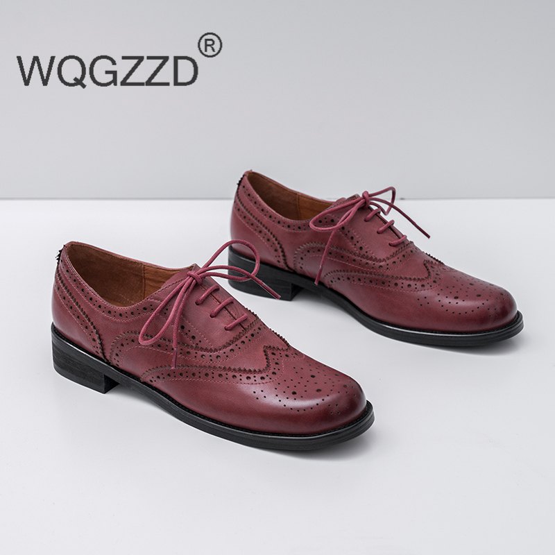 Luxury brand oxford shoes women s loafers genuine leather lace up bullock shoes women s casual
