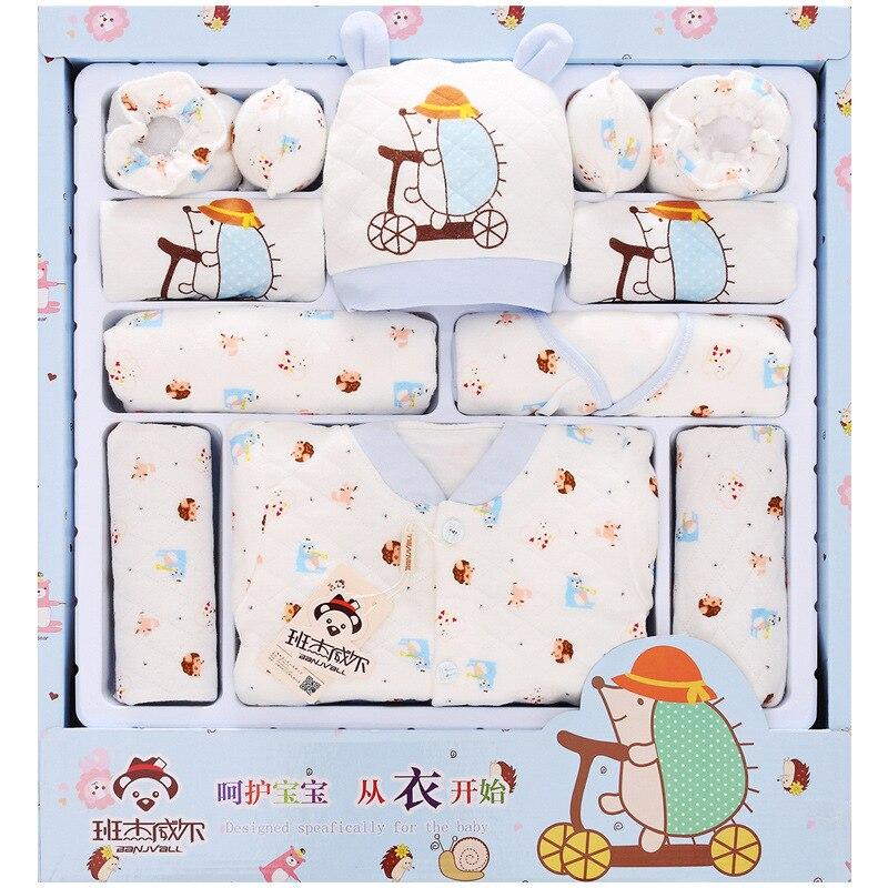 Осенне зимняя хлопковая брендовая одежда для новорожденных 100% года с изображением ежика, 13 предметов, Подарочный комплект, комплект одежды для маленьких мальчиков и девочек