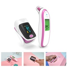 Adult Baby Digital Thermometer Finger Pulse Oximeter Set LCD Display Infrared Ear Forehead Thermometer Household Health Care yongrow yellow baby pediatric portable fingertip pulse oximeter and forehead ear thermometer medical lcd infrared digital