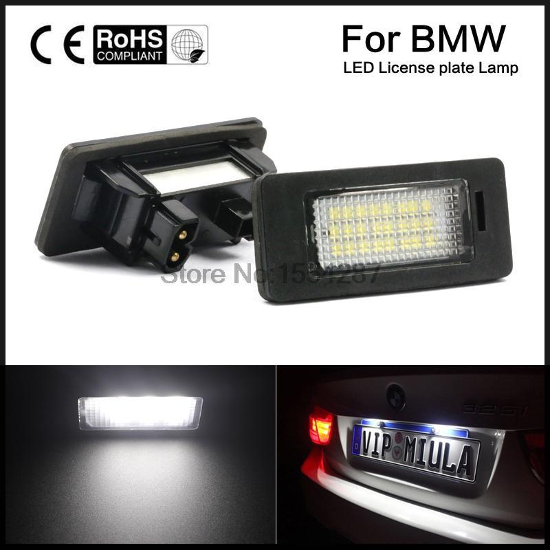 Pair 24 LED 3528 SMD License Plate Lights Lamps Bulbs 6000K White For BMW E82 E90 E92 E93 M3 E39 E60 E70 X5