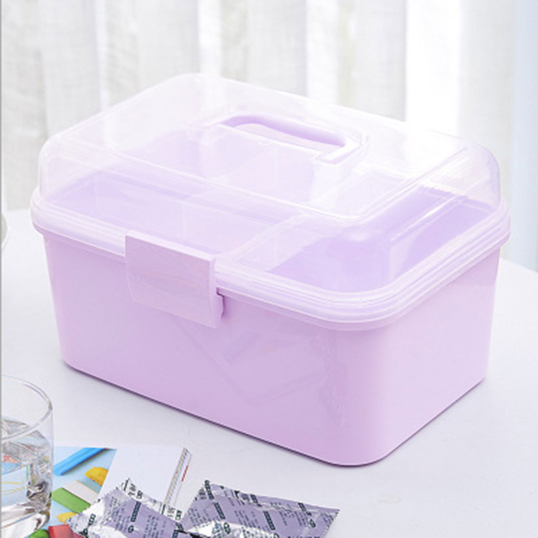Storage Box Portable Hand-held Double Layered PP Emergency Household Medical Box Cabinet Office Desk Storage Organizer