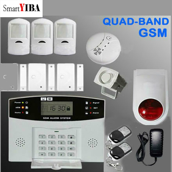 SmartYIBA Metal Remote Control Voice Prompt Wireless door sensor Home Security GSM Alarm systems LCD Display Wired Siren