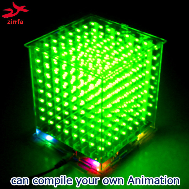 US $18 51 |DIY 3D8 mini Cubeeds LED DIY KIT with excellent animations /3D  green 8 8x8x8 Kit,3D Display,support Aidrno-in Integrated Circuits from