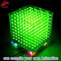 DIY 3D8 Mini Cubeeds LED KIT De Bricolaje Con Excelentes Animaciones/3D Verde 8 8x8x8 Kit ¡pantalla 3D, Soporte Aidrno
