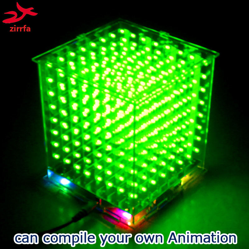 DIY 3D8 Mini Cubeeds LEVOU KIT DIY Com Excelentes Animações/3D 8 8x8x8 Kit Verde, 3D Display, Suporte Aidrno