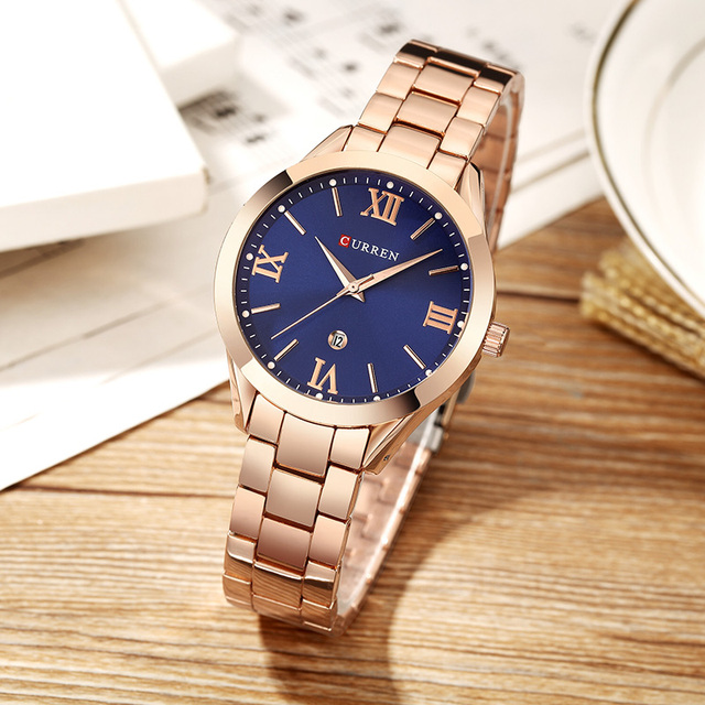 CURREN Women's Luxury Rose Gold Calendar Date Display Ladies Quartz Watches 2