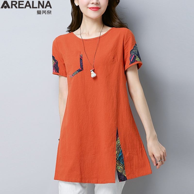Women Summer Blouses Vintage Floral Blouse short Sleeve Shirt Women Camisas Femininas Female Tops Fashion Cotton Linen Shirt 1