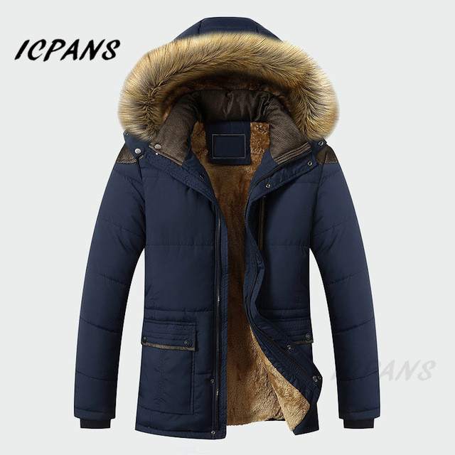 ICPANS Winter Jacket Men Clothing Casual Thick Warm Mens Coats   Parkas   With Hooded Long Overcoats Male Clothes Plus Size 4XL 5XL
