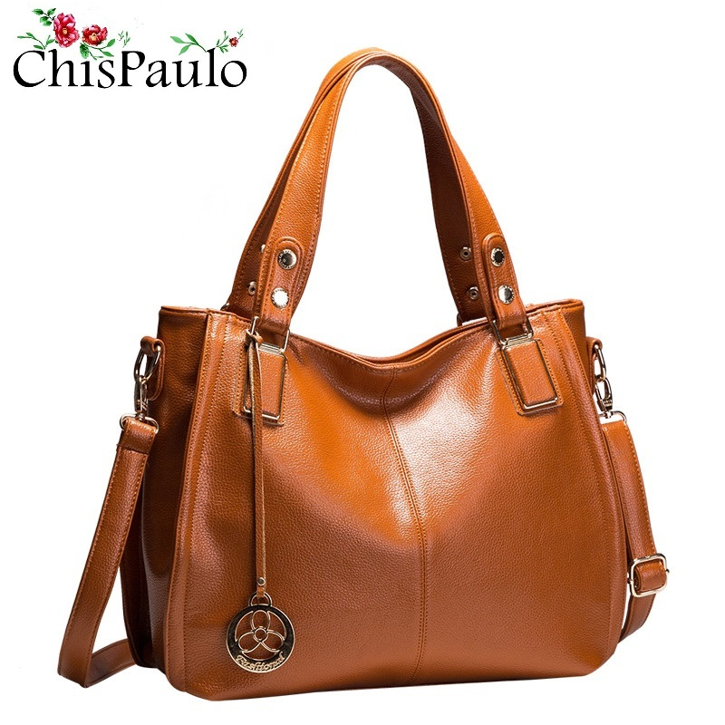 CHISPAULO Brand Designer High Quality Fashion Cowhide Women Genuine Leather Handbags Vintage Cacual Messenger Crossbody Bags X21