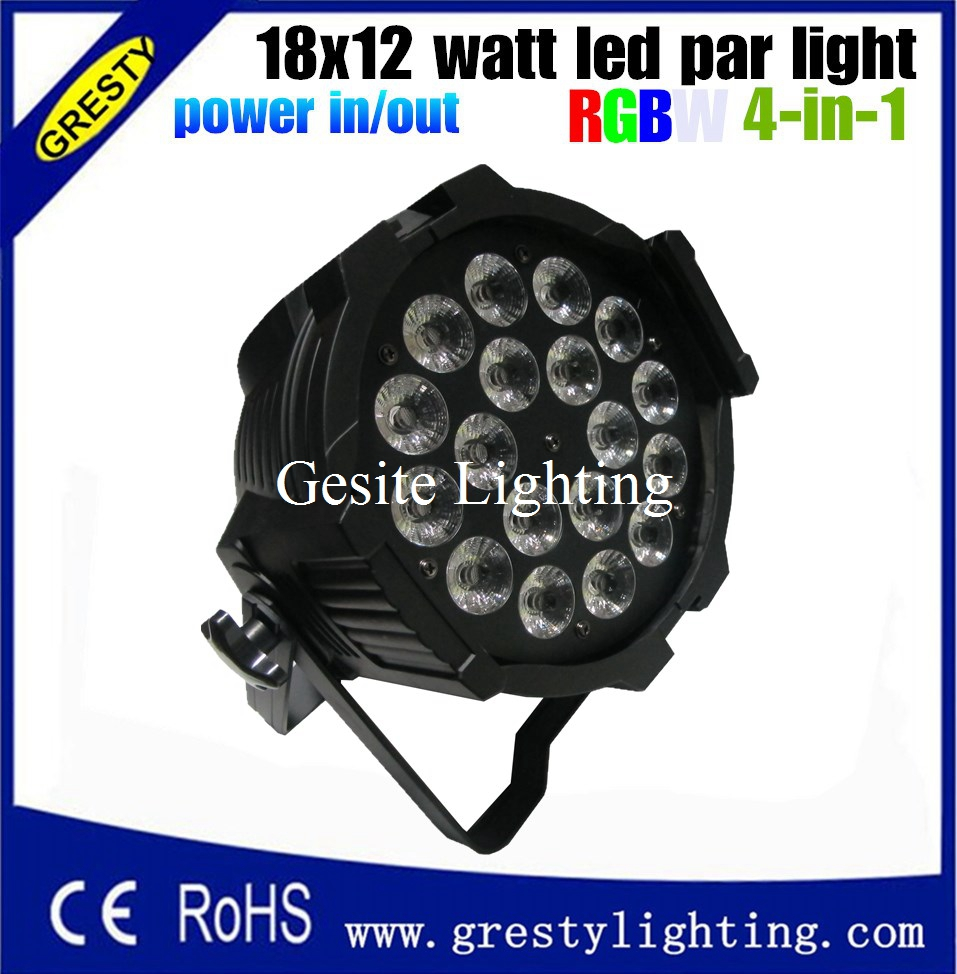 6 pieces/lot 18x12W RGBW Led Par Light DMX Stage Lights Business Lights Professional Flat Par power in power out  4pcs lot the brightest 4 8 dmx channels led flat par 18x12w rgbw 4in1 led par can light with power in power out