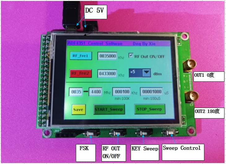 ADF4350 ADF4351 Module TFT Color Touch Screen STM32 Swept Frequency RF Signal Source adf4350 adf4351 development board 35m 4 4g rf source sweep frequency source pll development board