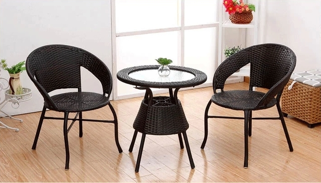 Three Piece Coffee Table Rattan Chair Leisure Chair Balcony Furniture  Outdoor Furniture Combination Five