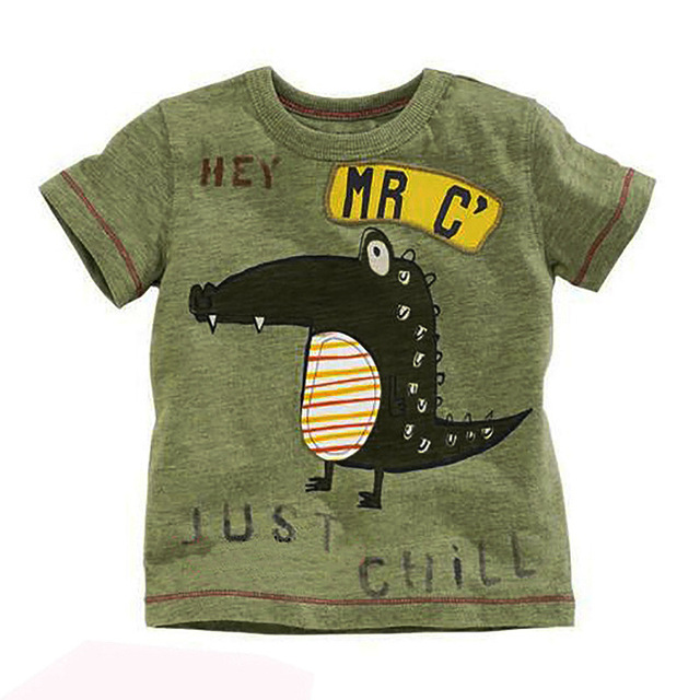 2017 boys summer cotton short sleeved T-shirt small baby boy half sleeve beach suit cartoon crocodile all-match
