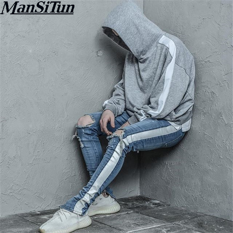 New 2018 Stylish KANYE Knee Hole Side Zipper Slim Distressed Jeans Men Brand Bieber FOG Ripped Jeans For Men White Stripe Pants