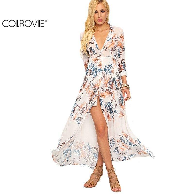 COLROVIE Summer Beach Style Woman Flower Print Chiffon Long Shirt Dresses Deep V Neck Women Casual