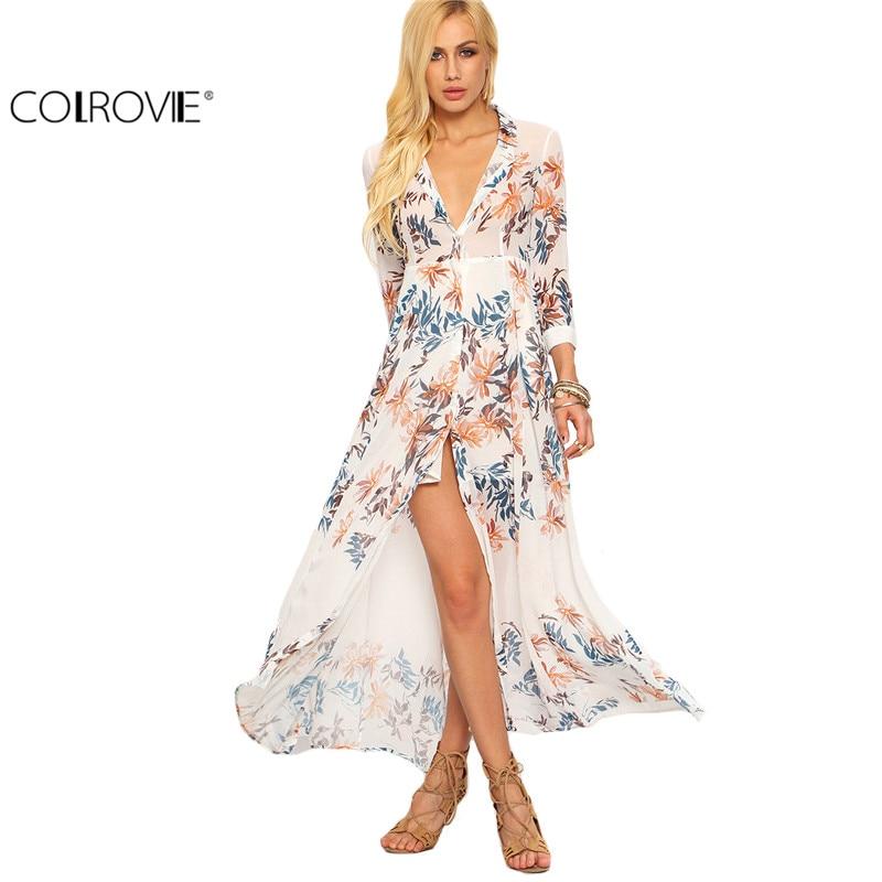 Colrovie summer beach estilo de mujer estampado de flores de gasa camisa larga v