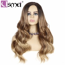 USMEI 28 inches Long wig Ombre Blonde Resistant High Temperature Fiber Wave Hair Synthetic Wigs cosplay For Women average size