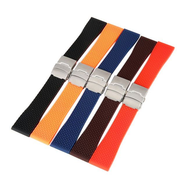 18mm, 20mm, 22mm, 24mm Silicone Rubber Watch Strap Band Deployment Buckle Waterp