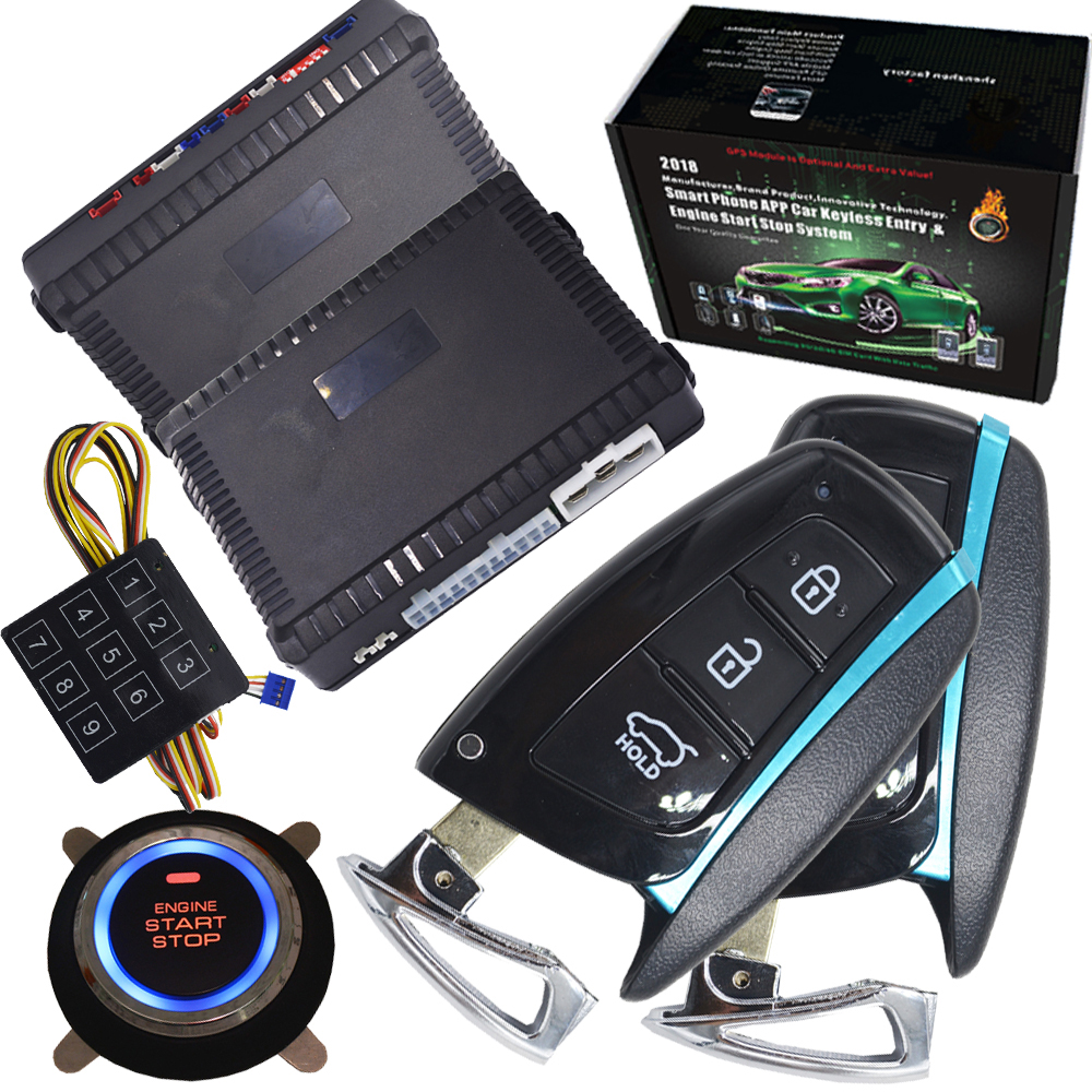 Universal Auto Car Alarm Remote Engine Start Stop remote keyless start system gps output shock alarm output auto central lock passive car alarm with auto central lock unlock car door automotive engine start stop system gps output push engine start stop