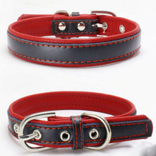 Fashion Leather Dog Collar Lead For Small Cat Leahter Neck Strap Soft Adjustable Solid Double Layer Red XS S M L