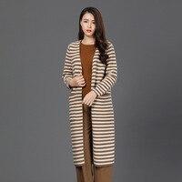 Danjeaner плюс Размеры женские длинные кардиган в полоску модные осень зима дамы Теплое пальто с длинным рукавом с карманом Повседневное свобод