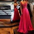Claro Ou escuro Cor Fúcsia Rendas Vestidos de Noite Longo de Chiffon Elegante Vestidos de Festa À Noite Com Decote Em V Spagehtti Strap 2016