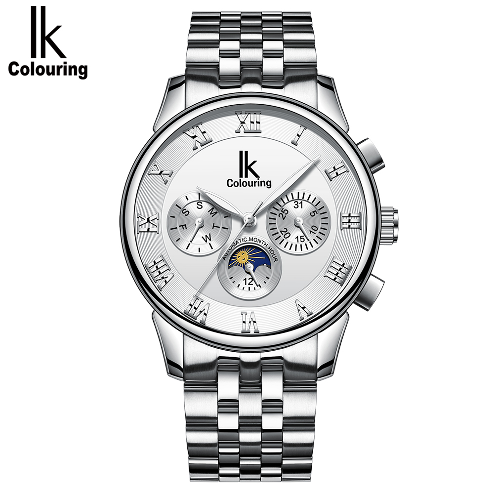 ik colouring mens orologio uomo automatic wristwatch skeleton steampunk wrist watch stainless steel band male clock montre homme IK Colouring Automatic Watch Men Moon Phase Auto Date Day Mechanical Male Clock Montre Homme Business Dress Wristwatch