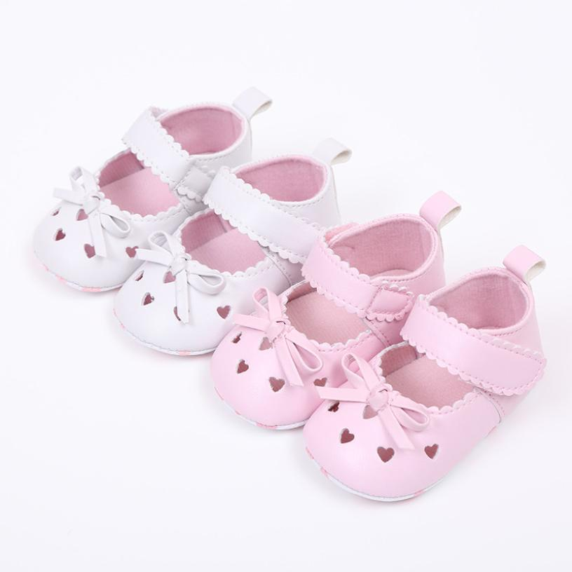 TELOTUNY 2018 Baby GIRLS Shoes Crib Shoes  Newborn Infant Baby Girls Crib Shoes Soft Sole Anti-slip Sneakers Bowknot Shoes UK A6