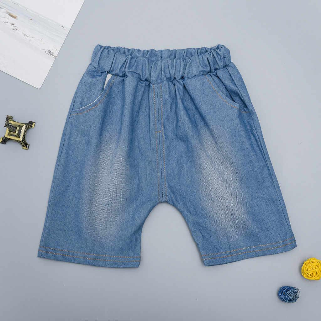 Bebé Niña Caballero Plaid Camiseta Impresión De Mezclilla Pantalones Cortos 2 Pc Set Trajes Ropa De Niños Conjunto De Ropa De Niño
