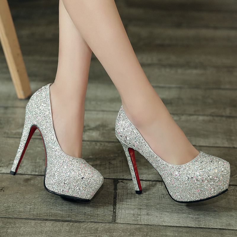 YMECHIC Lady's Summer Glitter Party Wedding Bridal White High Heels Shoes Sequined Platform Womens Thin Heel Shoes Pumps 2018-in Women's Pumps from Shoes    1