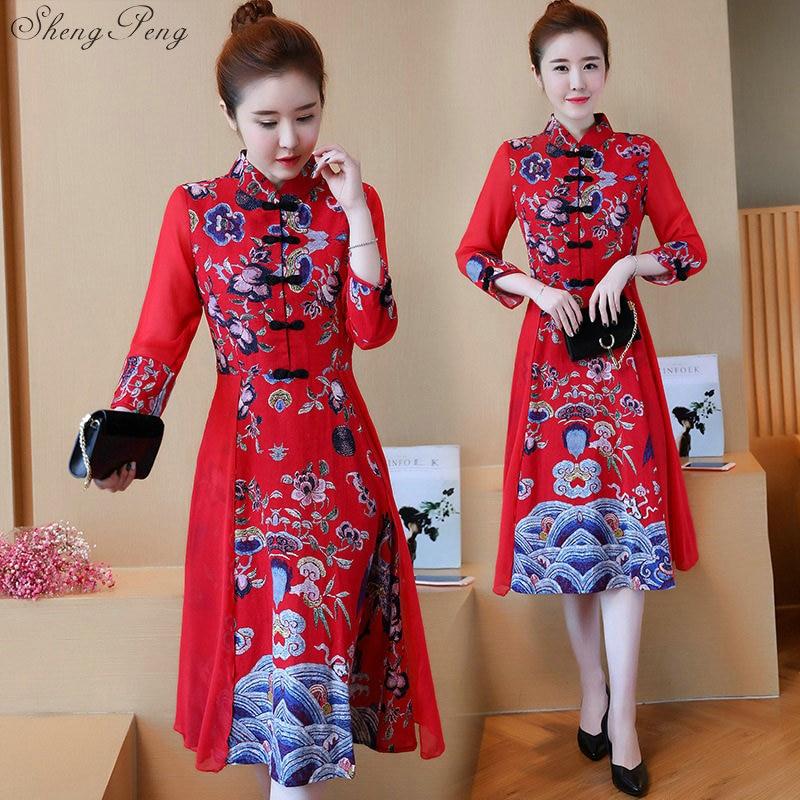 Cheongsam dress summer girls new slim traditional chinese clothes for woman elegant long qipao dress long