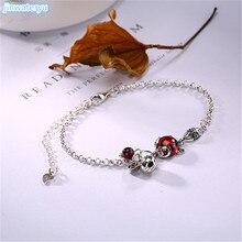 Стерлингового серебра 925 Винтаж Марсель камень инкрустированные гранат Рыжая лиса высококлассные браслет