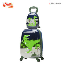 ABS+PC 14 inch 18 inch Cartoon dinosaur antique suitcase crash proof luggage trolley bag waterproof children's suitcase trolley(China)