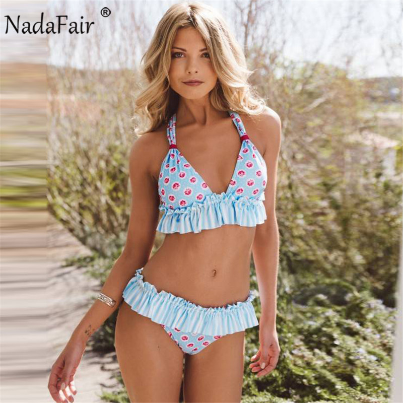 Nadafair Halter Swimwear 2018 New Summer Print Bikini Set Women Bathing Suit Ruffles Swimsuit Beachweear sexy halter color block ruffles women s bikini set