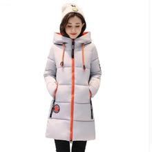 Плюс Размеры зимнее пальто 2017, женская обувь Новая горячая Распродажа стеганая куртка Женский сплошной Цвет с капюшоном толстые Теплая Парка хлопковая верхняя одежда AC236