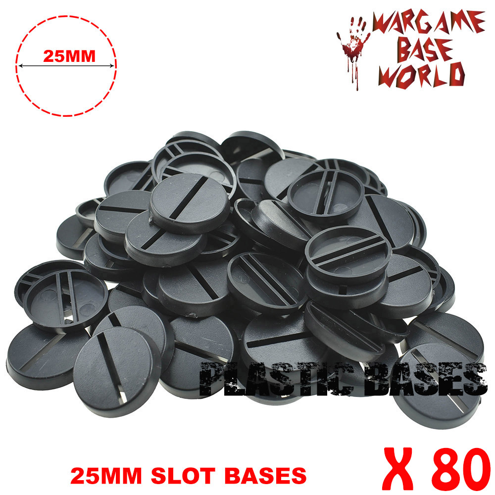 Gaming Miniatures 80 X 25mm Round Plastic Slot Bases