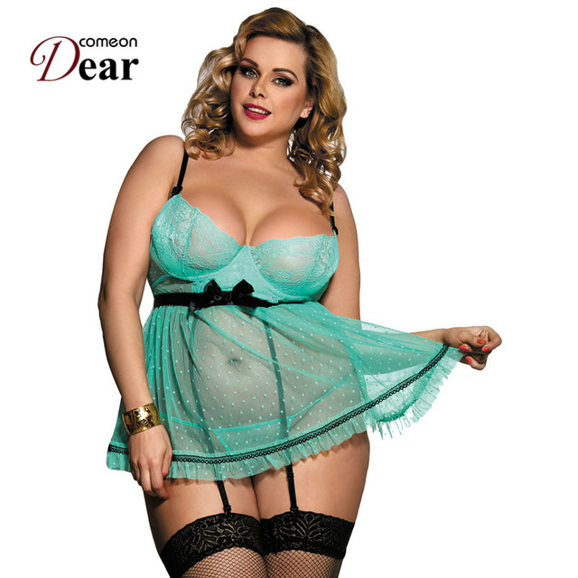 bcd7bf0c5 Comeondear Plus Size Lingerie Sexy Full Figure Polka Dot Underwear Apron  Babydoll Nuisette Sexy Erotic Lingerie RK80198