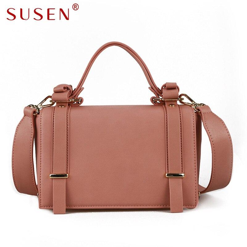 SUSEN 0120 Women Handle Shoulder Bag Fashion Crossbody Bag Cover Closure Simple Design Top PU Adjustable Strap Bag for Lady