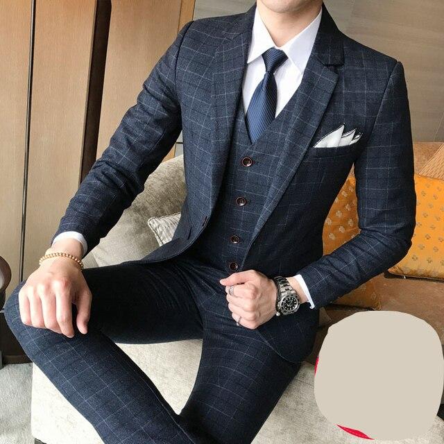 176975b00e77 Куртка + брюки + жилет) роскошный мужской свадебный костюм мужские  повседневные приталеные блейзеры, костюмы для мужские костюмы деловые то.