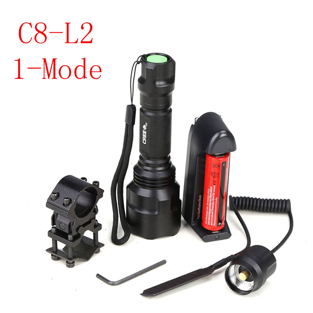 Hunting light C8 Tactical flashlight XM-L L2 led 1-mode  torch+18650 battery+Charger+Pressure Switch Mount Rifle Gun Light Lamp led tactical flashlight 501b cree xm l2 t6 torch hunting rifle light led night light lighting 18650 battery charger box