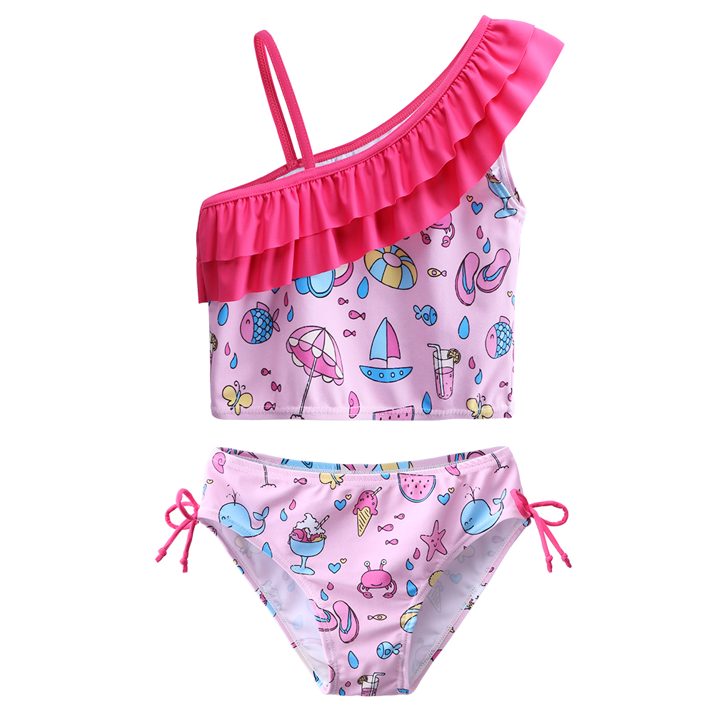 UV Protective 3-12 Years BAOHULU Girls Swimsuit Two-Piece Tankini UPF 50