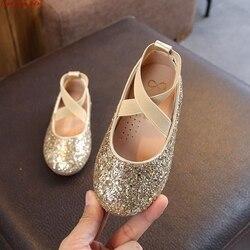 Primavera crianças princesa sapatos de couro para meninas crianças menina sapato de casamento ouro preto rosa lantejoulas do bebê meninas festa
