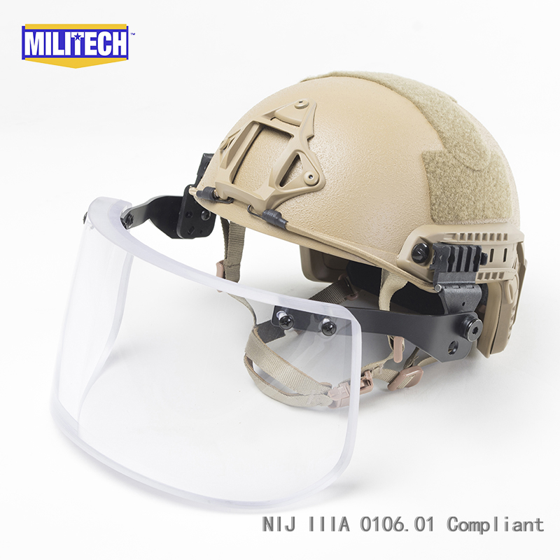 MILITECH Coyote Brown CB Deluxe NIJ IIIA 3A FAST Bulletproof Helmet and Visor Set Deal Ballistic Helmet Bullet Proof Mask Pack