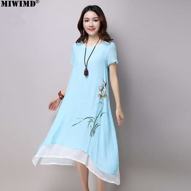 2f0ad8c2886e MIWIMD Women Summer Dresses 2018 New Fashion Casual Printing Short Sleeve  Loose Cotton Linen Double layer Long Dress Big Size