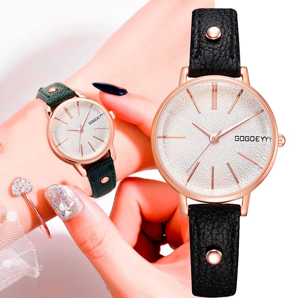 Small Rose Gold Dial Quartz Women's Watches Leather Black Watch Women Casual Fashion Ladies Clock Relogio Feminino Bayan Kol Saa