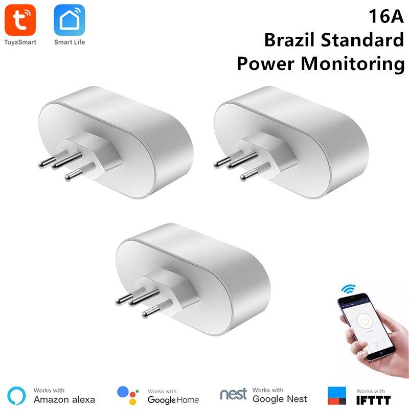 3 Piece Tuya Smart WiFi Socket Brazil Standard 16A Smart Outlet 85-220V Voice Control Via Alexa Google Home IFTTT Support Type N