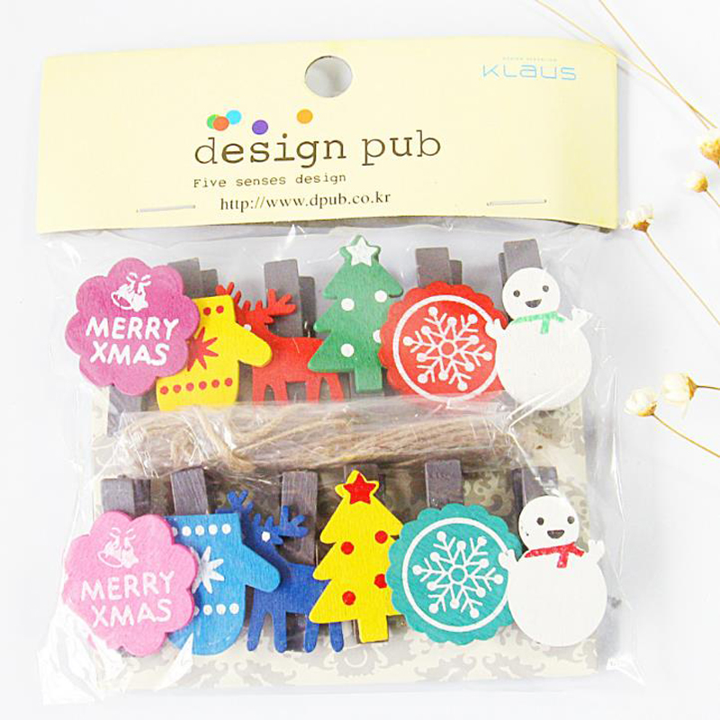10Pcs/set Hot Novelty Christmas Gift Wood clip mini photo clip Document Fille or School decoration stationery with rope