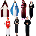 Ladies Men Jesus Priest Sister Clergyman Fancy Dress Outfit Adult Costume Cosplay Drama Halloween Decor Gift